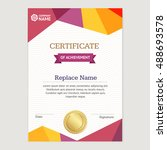 certificate vertical template... | Shutterstock .eps vector #488693578