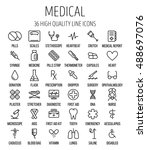 set of medical icons in modern... | Shutterstock .eps vector #488697076