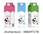 milk carton boxes on a white... | Shutterstock . vector #488697178