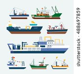 fishing ships and boats | Shutterstock .eps vector #488697859