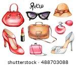set of retro fashion... | Shutterstock . vector #488703088