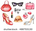 set of retro fashion... | Shutterstock . vector #488703130