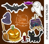 happy halloween background ... | Shutterstock .eps vector #488706280