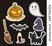 halloween symbols collection ... | Shutterstock .eps vector #488706304