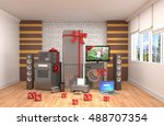 home appliance with ribbons and