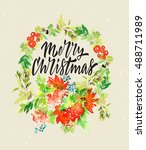 christmas card. watercolor... | Shutterstock . vector #488711989