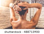 back view of beautiful naked... | Shutterstock . vector #488713900