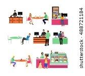 set of restaurant employees and ...   Shutterstock . vector #488721184