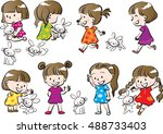 kids and pets set | Shutterstock .eps vector #488733403
