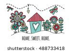 home sweet home hand drawn...   Shutterstock .eps vector #488733418