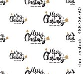 christmas seamless pattern with ... | Shutterstock .eps vector #488736760
