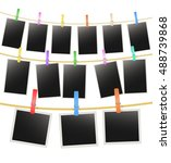 three rows with photo frames... | Shutterstock .eps vector #488739868