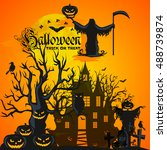 halloween background. horror... | Shutterstock .eps vector #488739874