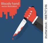 bloody hand holding a knife... | Shutterstock .eps vector #488747146