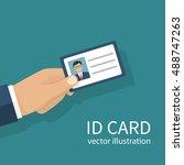 human holds identification card ... | Shutterstock .eps vector #488747263