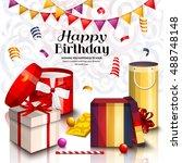 happy birthday greeting card....   Shutterstock .eps vector #488748148