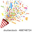 exploding party popper with... | Shutterstock .eps vector #488748724