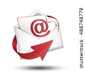 e mail envelope with red arrow | Shutterstock .eps vector #488748778