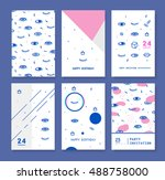 set invitation with psychedelic ... | Shutterstock .eps vector #488758000