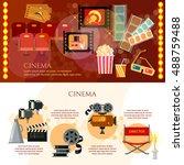 cinema infographics festival... | Shutterstock .eps vector #488759488