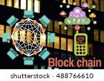 block chain and bitcoin icons... | Shutterstock . vector #488766610
