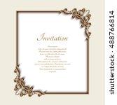 vintage gold background  vector ... | Shutterstock .eps vector #488766814