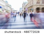 people in motion blurred people ... | Shutterstock . vector #488772028