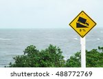 warning sign dangerous hill... | Shutterstock . vector #488772769