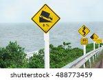 warning sign dangerous hill... | Shutterstock . vector #488773459