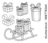 gift boxes set. vector... | Shutterstock .eps vector #488778364