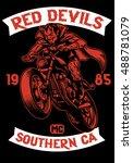 motorcycle club badge devil... | Shutterstock .eps vector #488781079