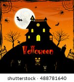 halloween night  black castle... | Shutterstock .eps vector #488781640