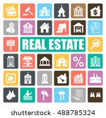 real estate icons set | Shutterstock .eps vector #488785324