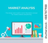 analysis symbols and diagrams.... | Shutterstock .eps vector #488787988