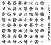 set of linear snowflakes.... | Shutterstock . vector #488788444