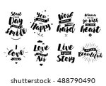 inspirational quotes set.... | Shutterstock .eps vector #488790490
