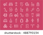 set vector line icons in flat... | Shutterstock .eps vector #488793154