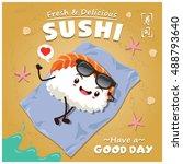 vintage sushi poster design...   Shutterstock .eps vector #488793640
