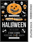 halloween party poster  flyer ... | Shutterstock .eps vector #488803060