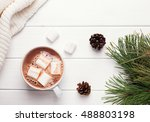 hot cocoa with marshmallows on... | Shutterstock . vector #488803198