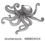 hand drawn octopus in graphic... | Shutterstock .eps vector #488803414