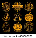 halloween set of halloween... | Shutterstock .eps vector #488808379