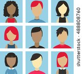 male and female faces avatars.... | Shutterstock .eps vector #488808760