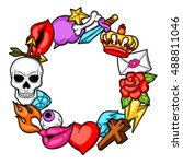 frame with retro tattoo symbols.... | Shutterstock .eps vector #488811046