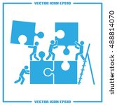 puzzle and people icon vector... | Shutterstock .eps vector #488814070