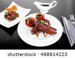 fresh red beef meat steak... | Shutterstock . vector #488814223