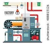 manufacturing conveyor in flat... | Shutterstock .eps vector #488815126