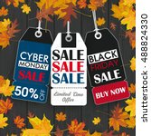black friday and cyber monday...   Shutterstock .eps vector #488824330