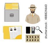 vector illustration detective... | Shutterstock .eps vector #488824660