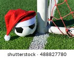 santa claus red hat on soccer... | Shutterstock . vector #488827780